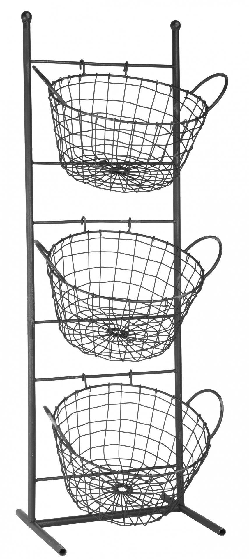 IB LAURSEN Kovový stojan s košíky Metal, černá barva, kov