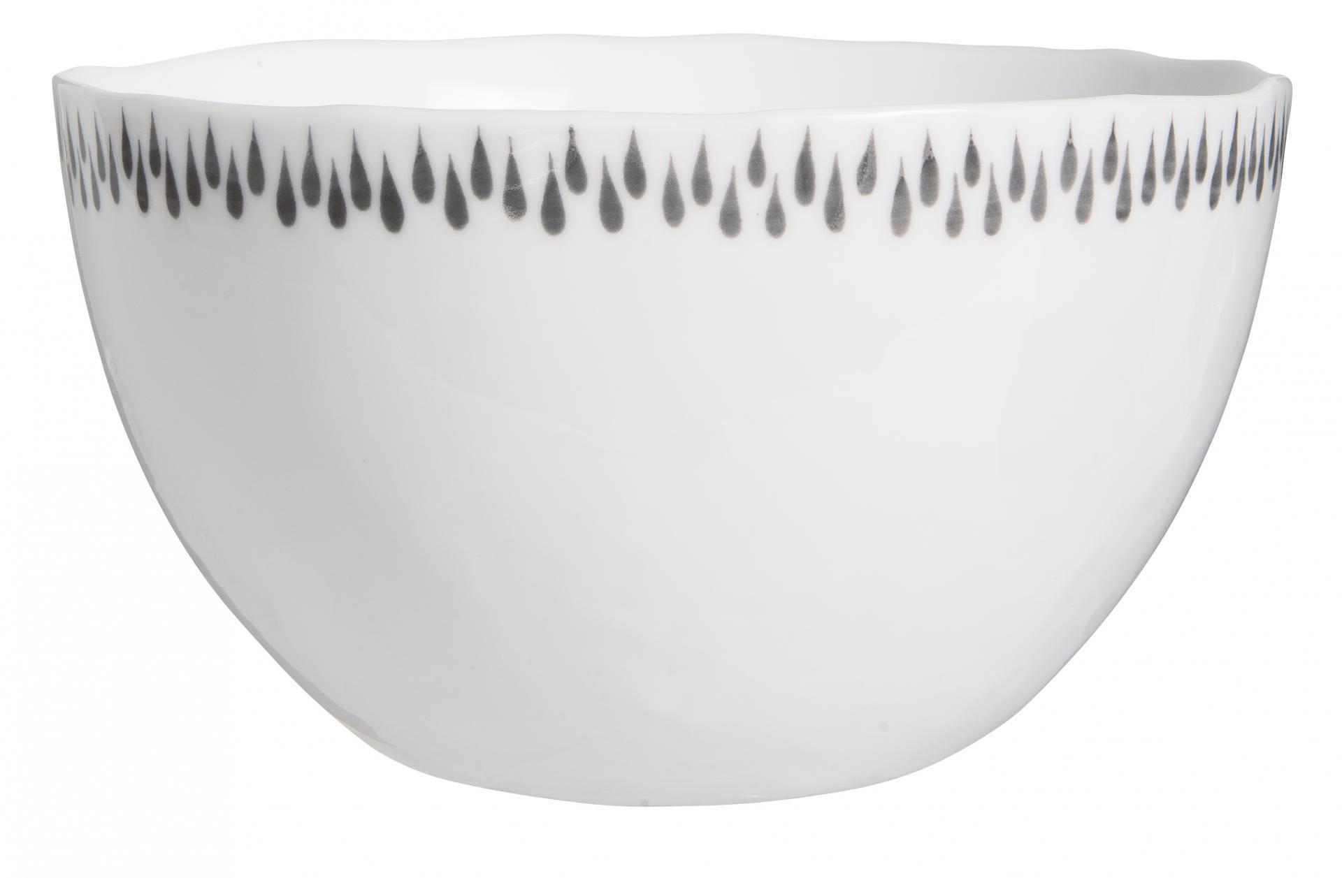 IB LAURSEN Porcelánová miska Delicate Grey, šedá barva, bílá barva, porcelán