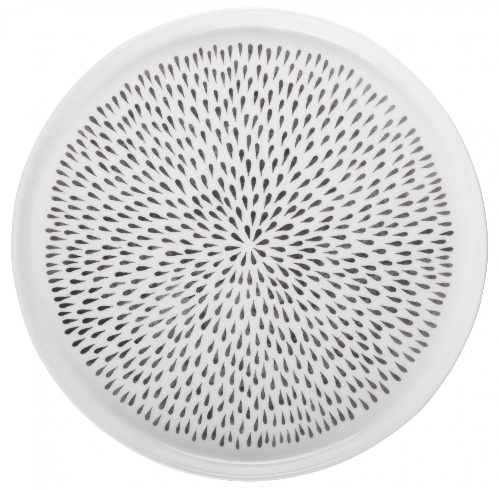 IB LAURSEN Porcelánový obědový talíř Delicate Grey, šedá barva, bílá barva, porcelán