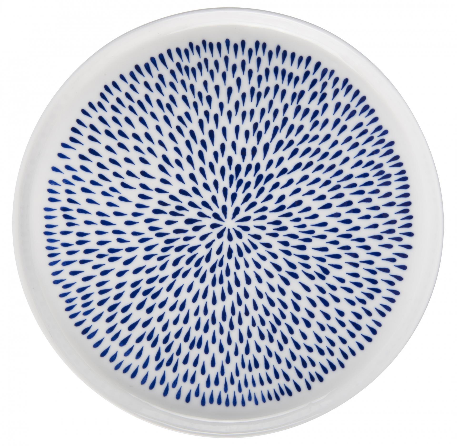 IB LAURSEN Porcelánový obědový talíř Delicate Blue, modrá barva, bílá barva, porcelán