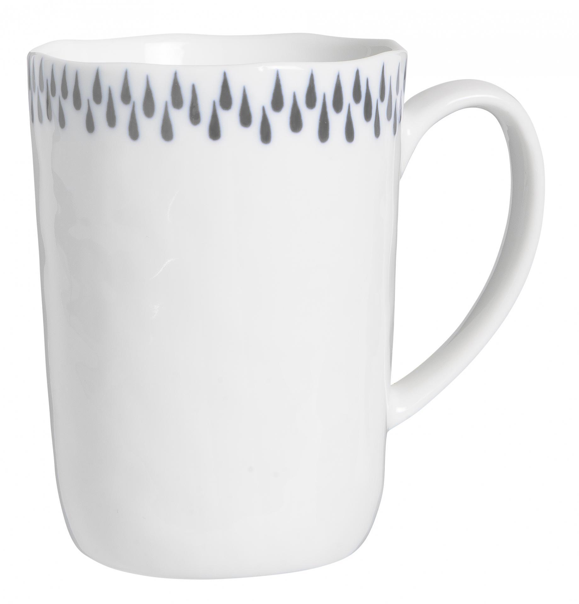IB LAURSEN Porcelánový hrneček Delicate Grey 320ml, šedá barva, bílá barva, porcelán