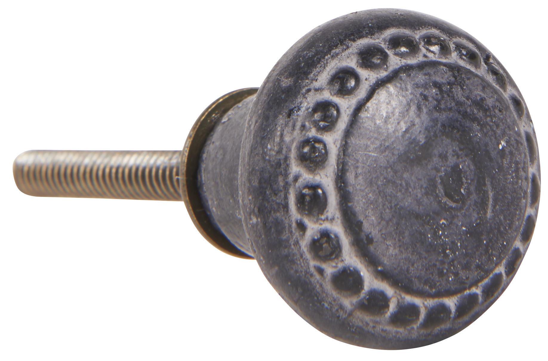 IB LAURSEN Kovová úchytka Black Casted Iron, šedá barva, černá barva, kov