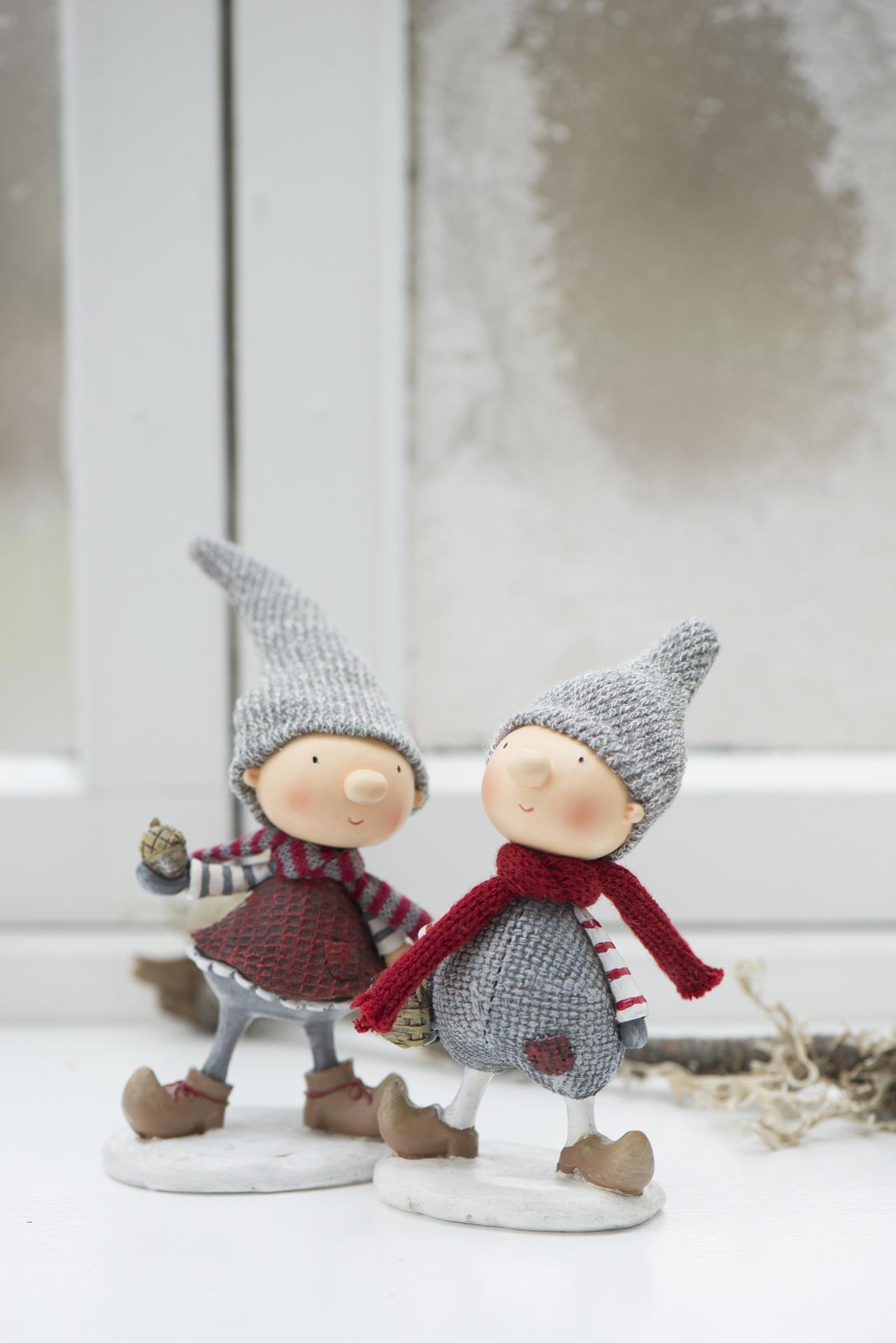IB LAURSEN Vánoční figurka Santa's helper Girl/Boy Typ A (chlapeček), červená barva, šedá barva, pryskyřice