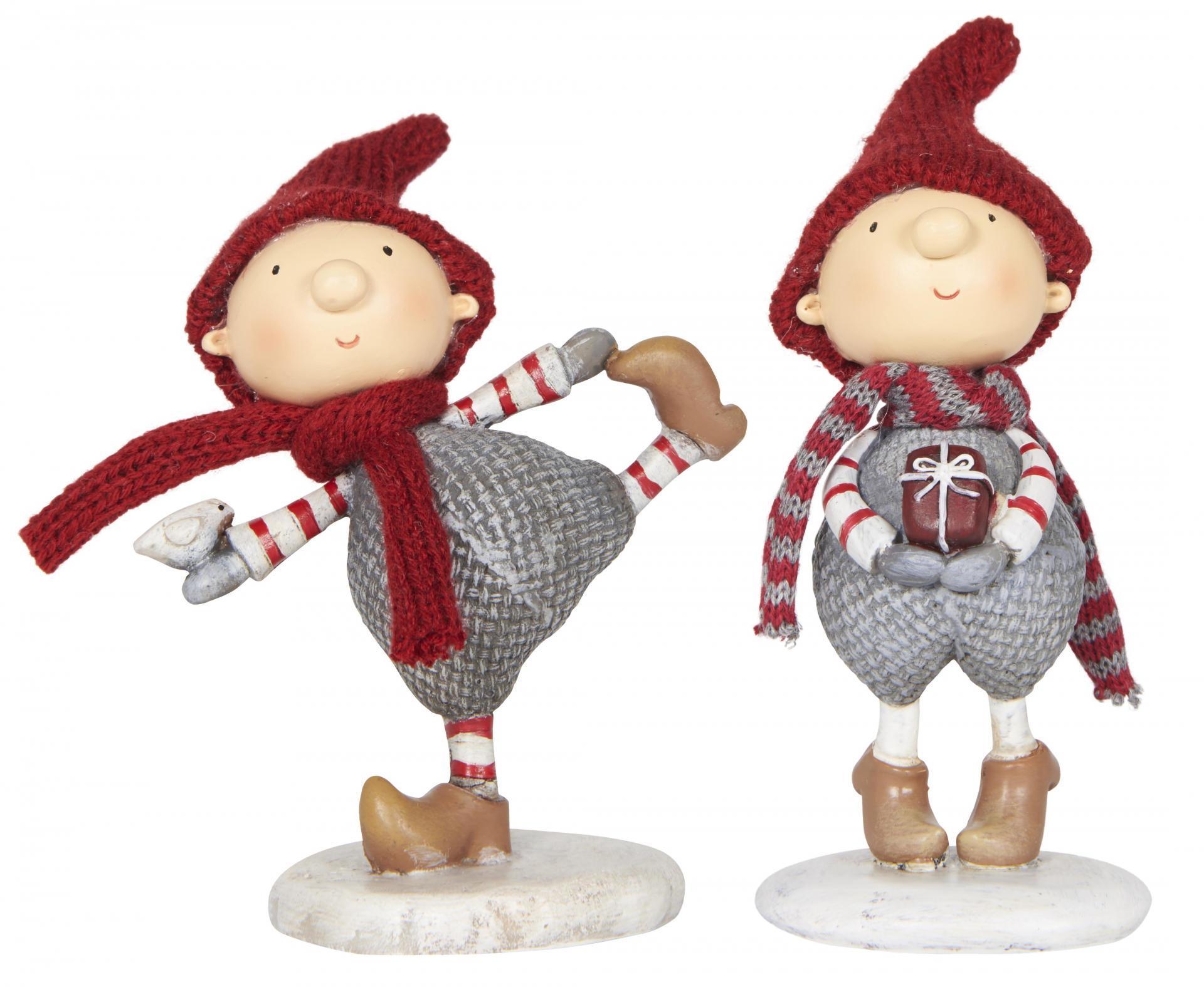 IB LAURSEN Vánoční figurka Santa's helper chlapeček Typ A (s ptáčkem), červená barva, šedá barva, pryskyřice
