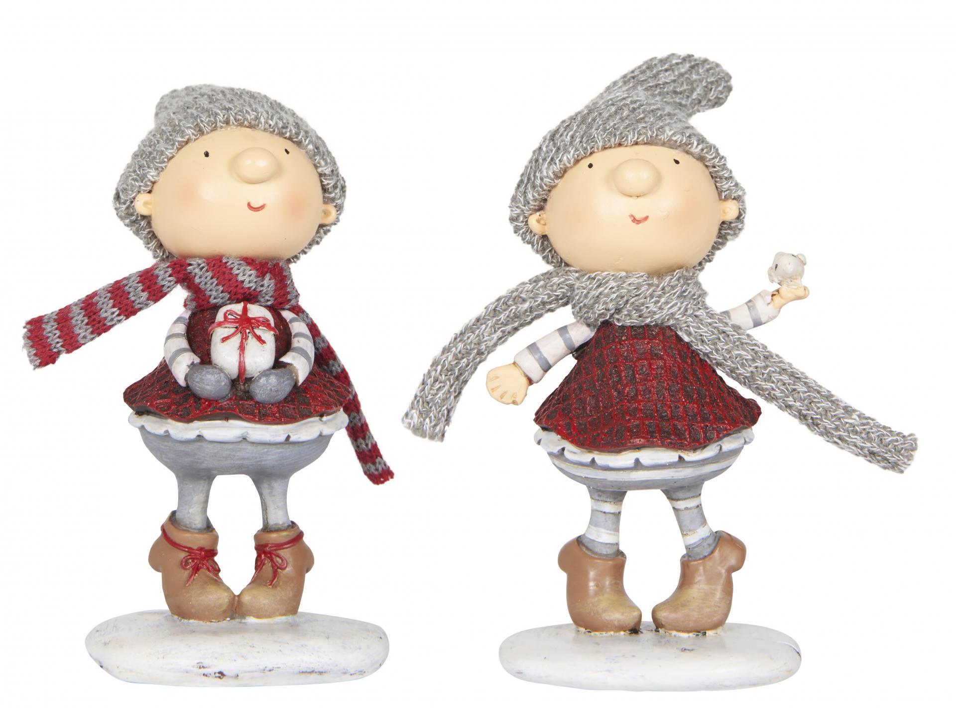 IB LAURSEN Vánoční figurka Santa's helper holčička Typ A (s dárečkem), červená barva, šedá barva, pryskyřice