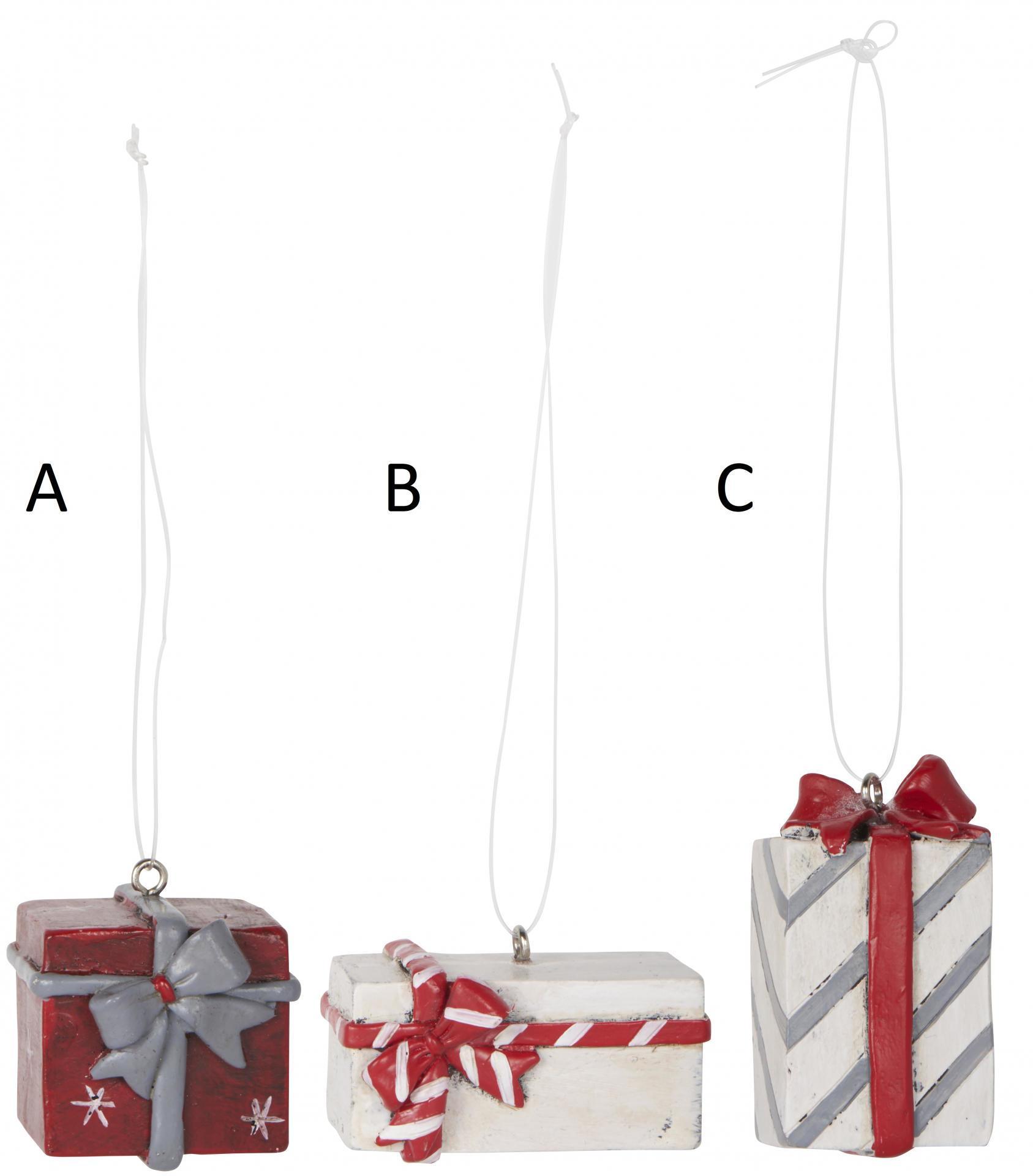 IB LAURSEN Závěsná vánoční dekorace Gift Typ A, červená barva, bílá barva, pryskyřice