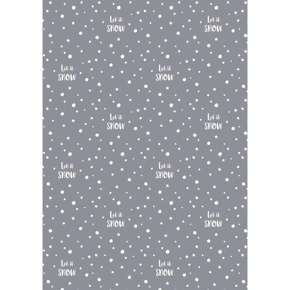IB LAURSEN Dárkový balicí papír Let it Snow - 10 m, šedá barva, bílá barva, papír