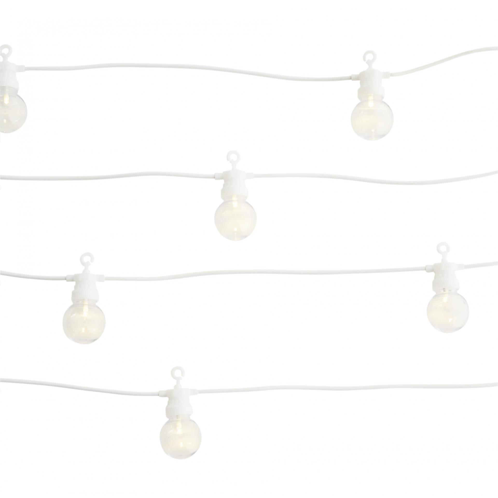 MADAM STOLTZ Venkovní světelný LED řetěz Ball White - 10 žárovek, bílá barva, plast