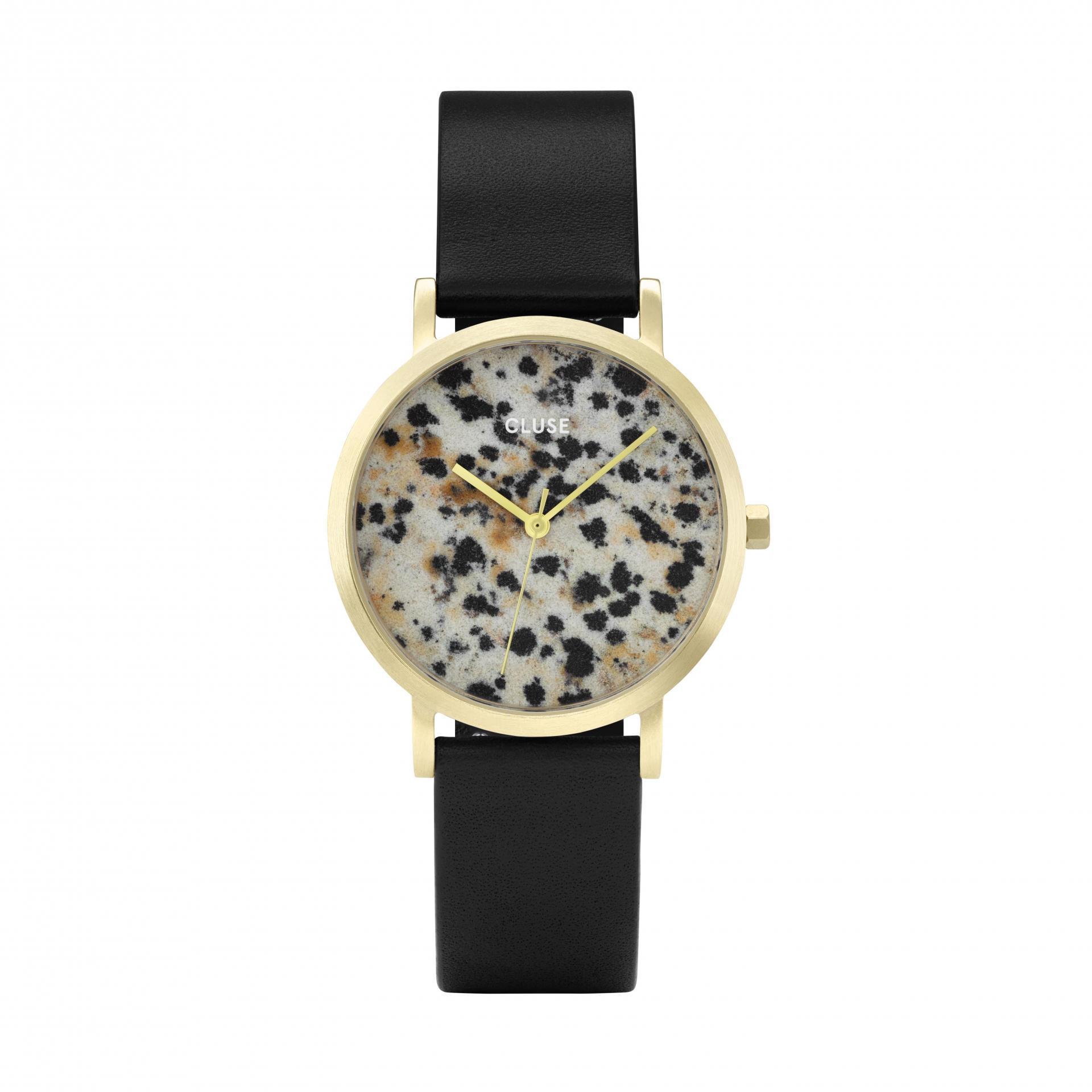 CLUSE Hodinky Cluse La Roche Petite Gold Dalmatian/Black, černá barva, zlatá barva, kov, kůže, kámen