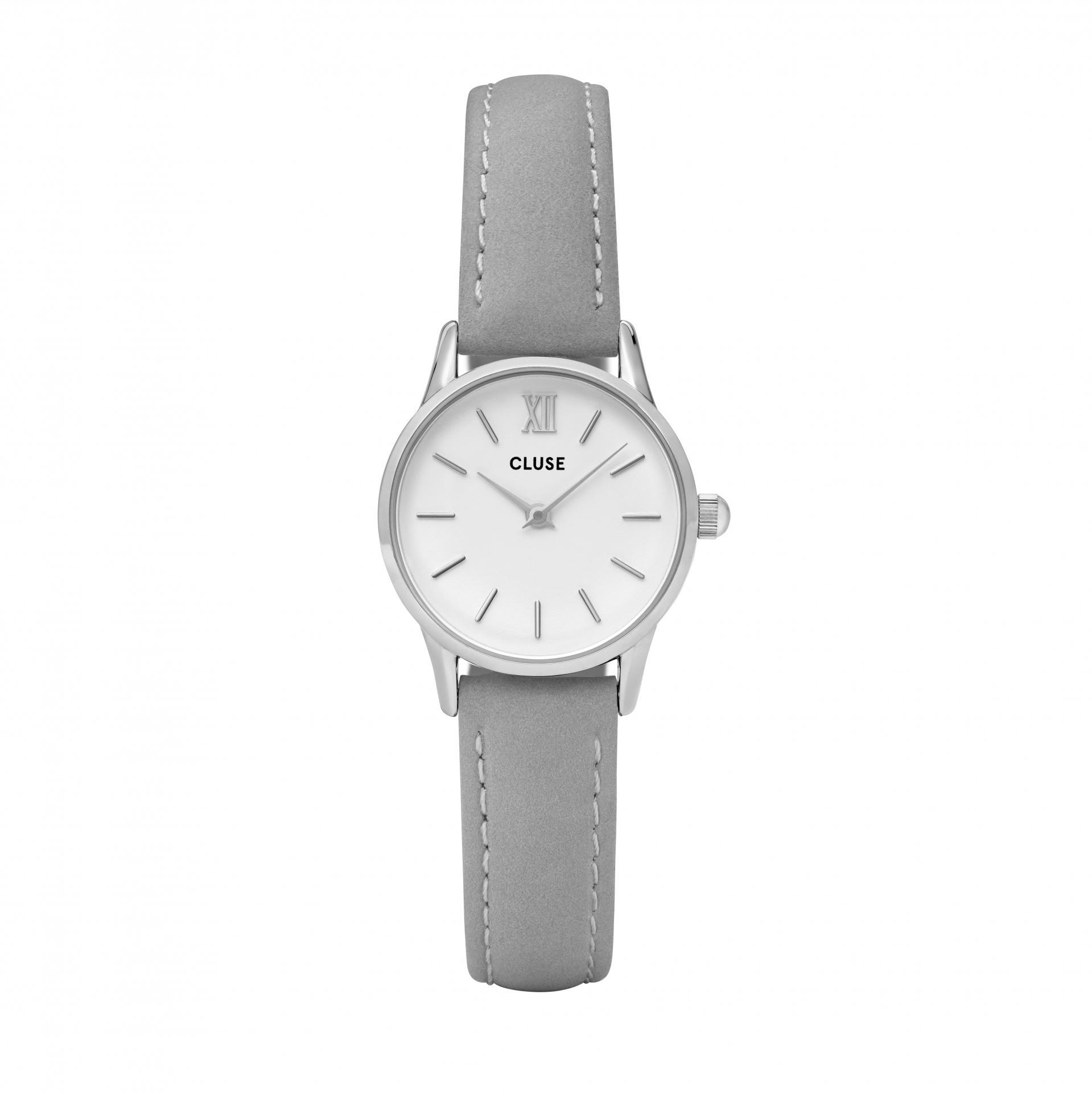 CLUSE Hodinky Cluse La Vedette Silver White/Grey, šedá barva, stříbrná barva, kov, kůže