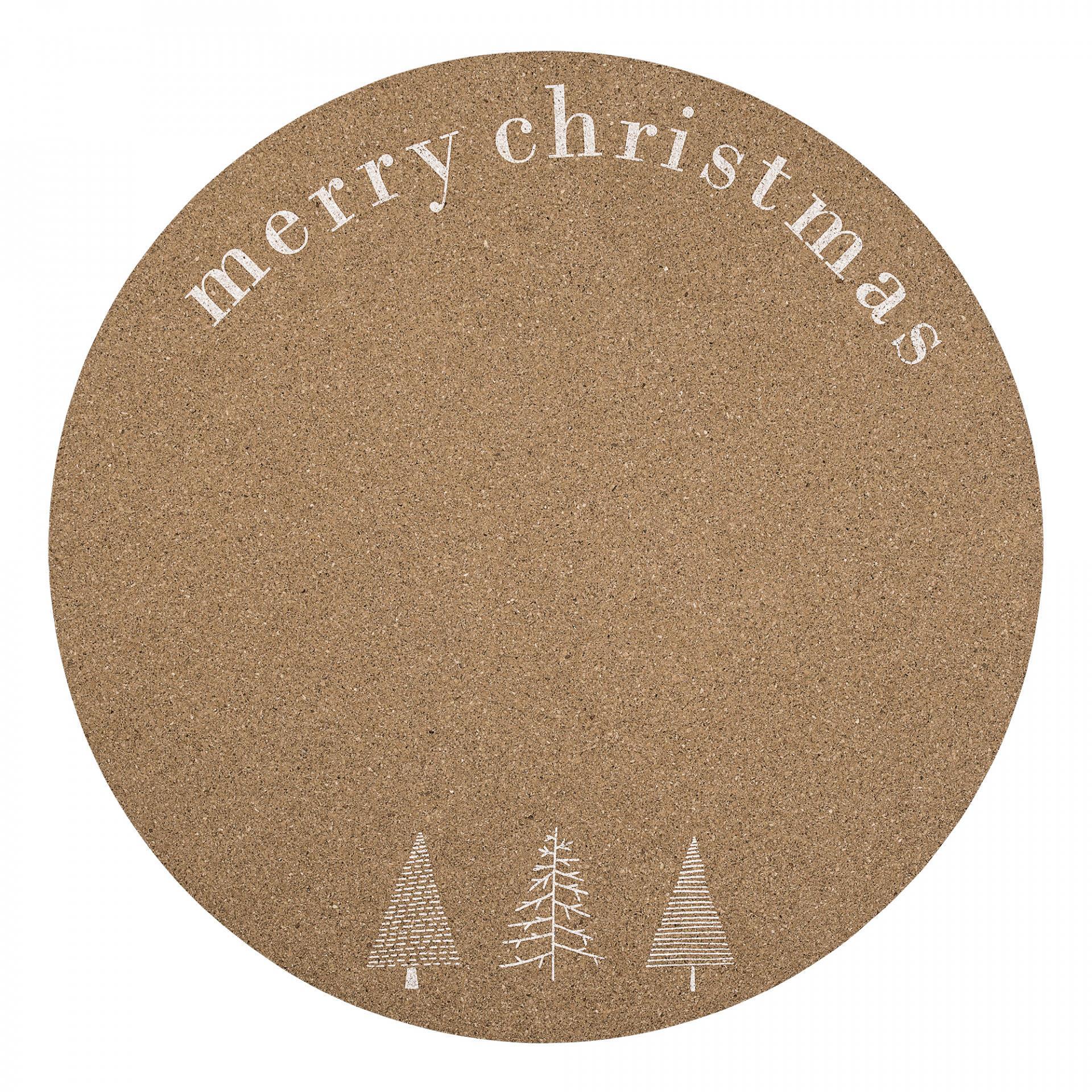 Bloomingville Korkové vánoční prostírání Nature, hnědá barva, korek
