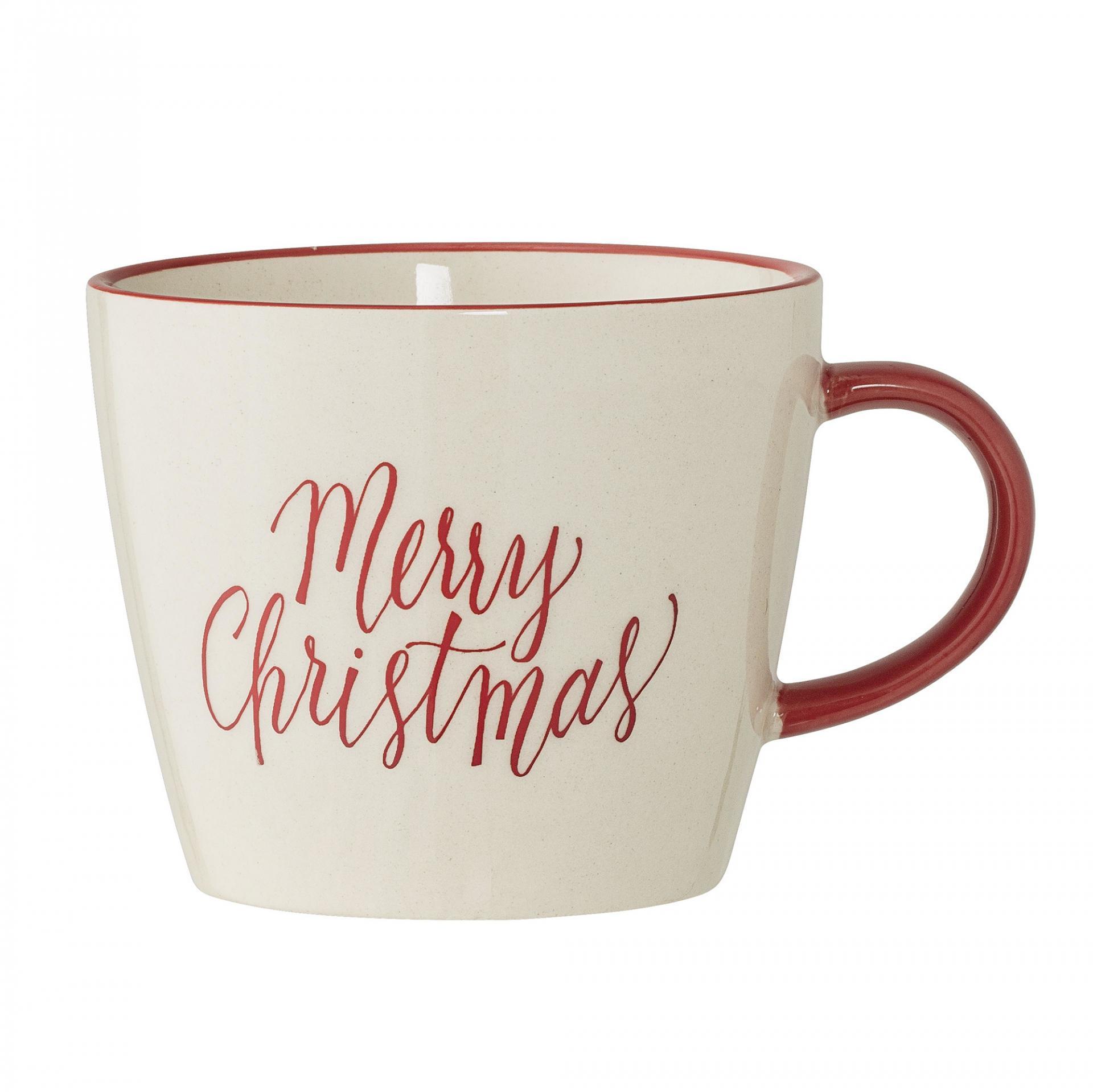 Bloomingville Keramický hrnek Merry Christmas red, červená barva, krémová barva, keramika