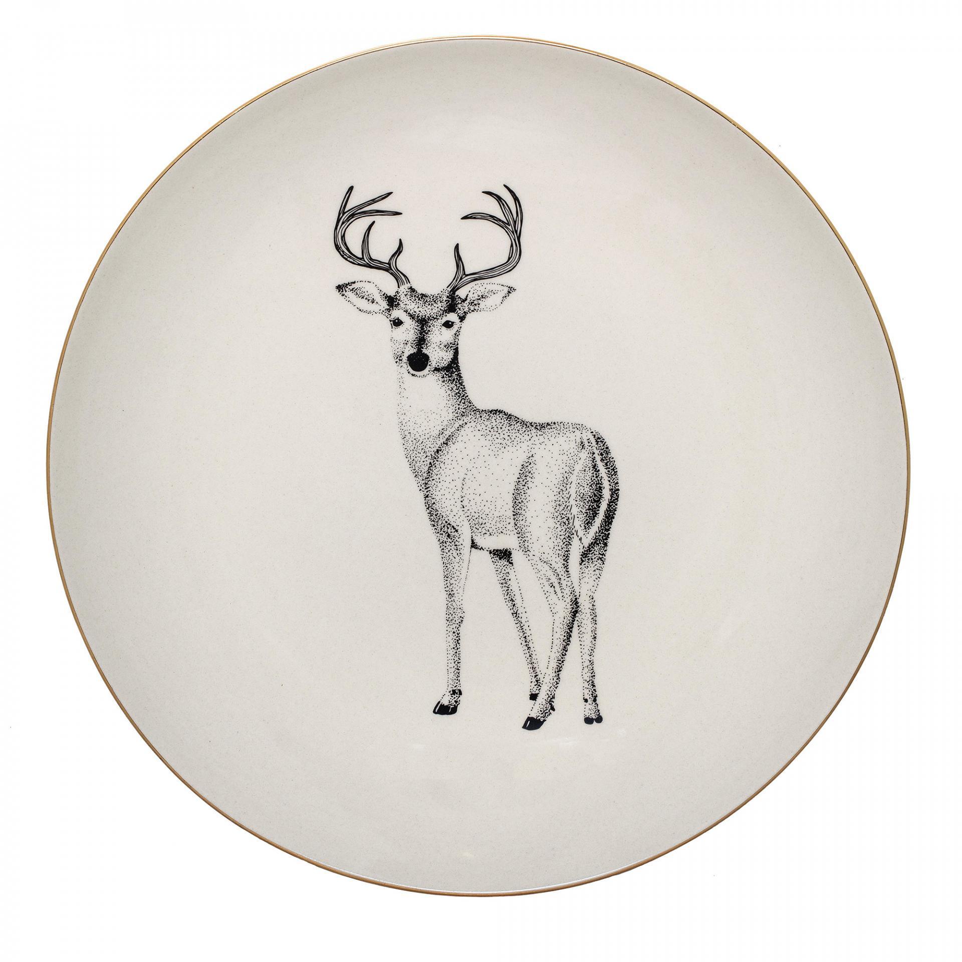 Bloomingville Keramický talíř Noel 25 cm, zlatá barva, krémová barva, keramika