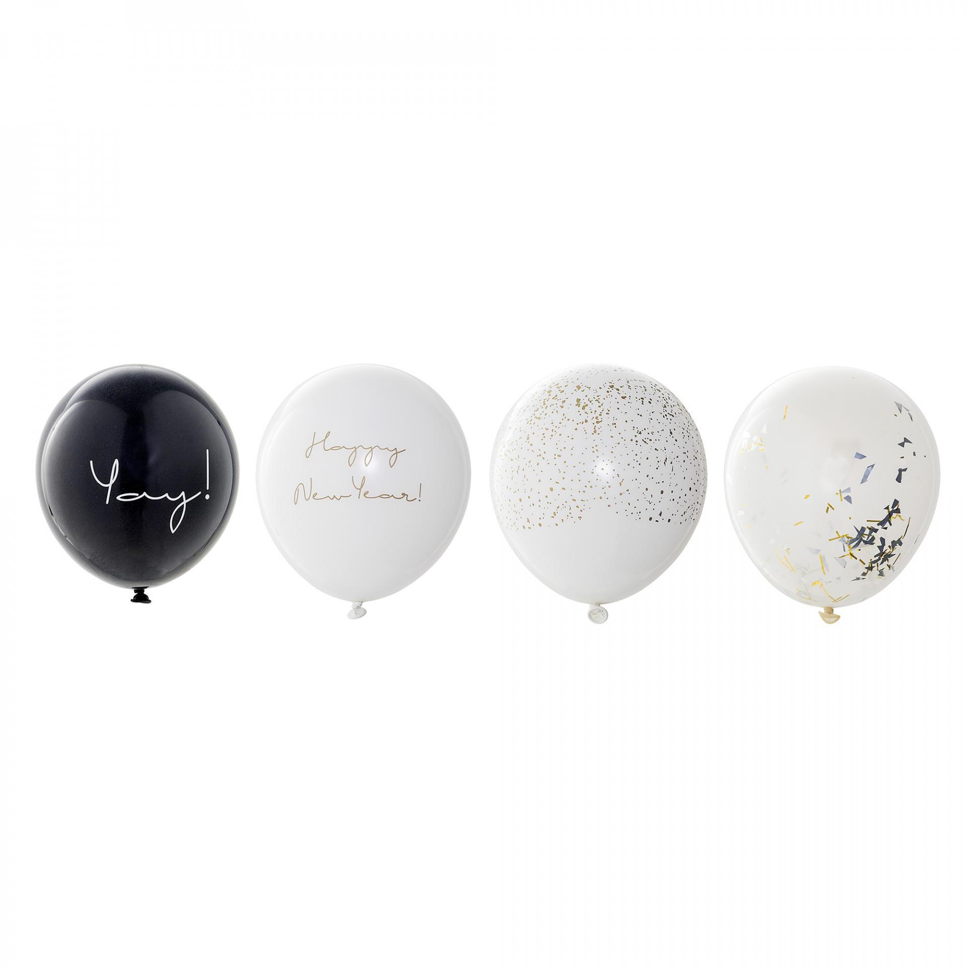 Bloomingville Nafukovací balónky Happy New Year set 24 ks, černá barva, bílá barva, čirá bar