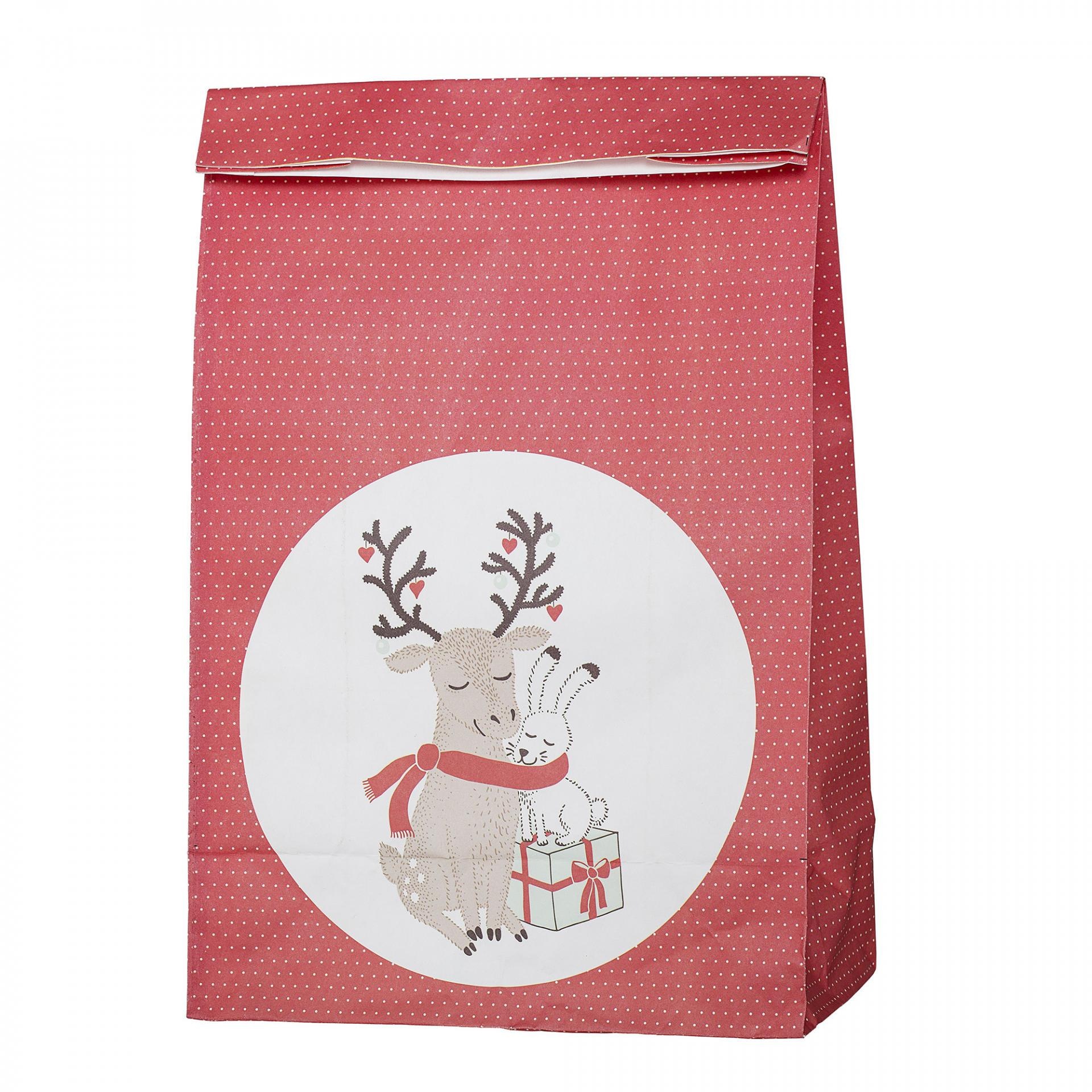 Bloomingville Papírový sáček na dárky Twinkle, červená barva, papír