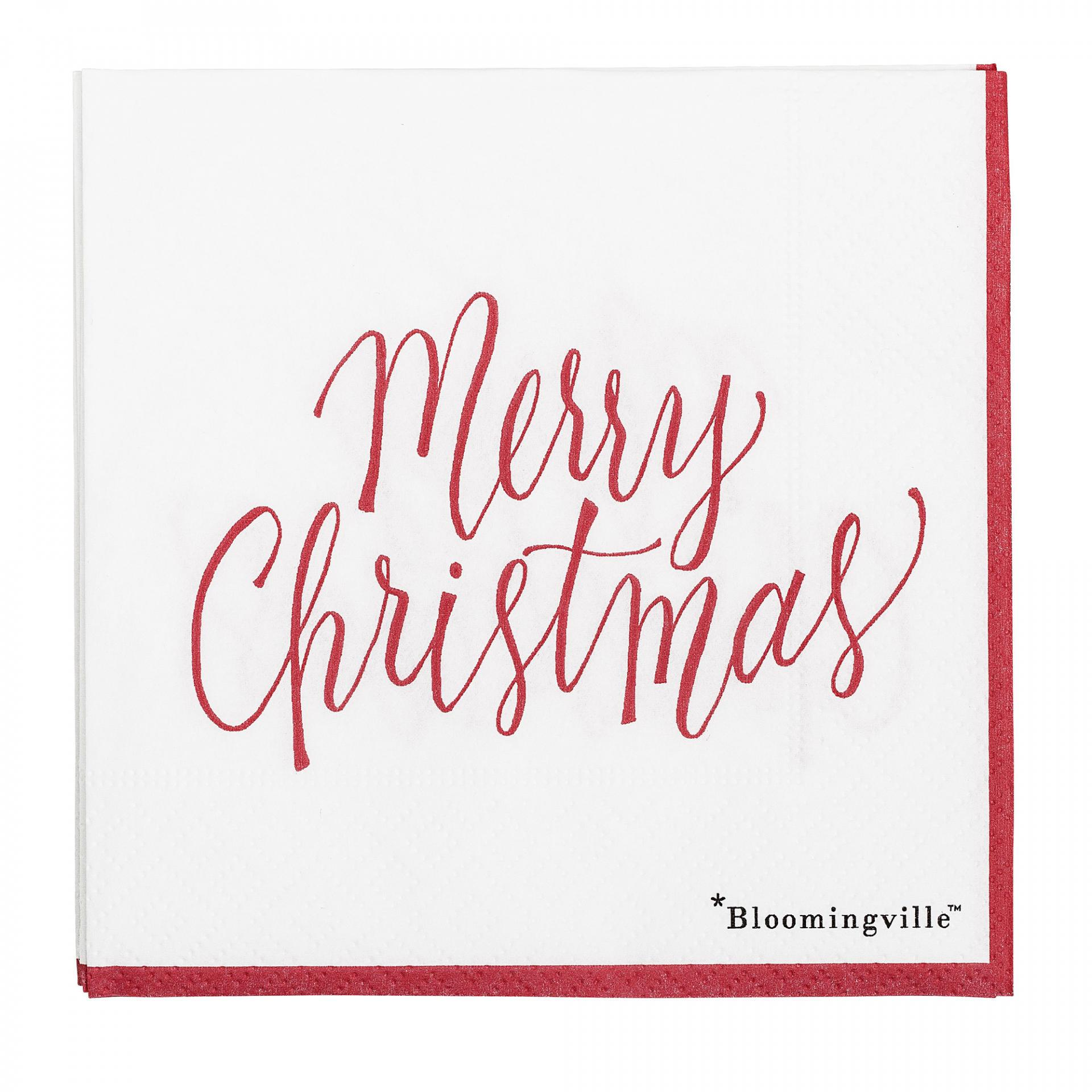 Bloomingville Papírové ubrousky Merry Christmas red, červená barva, papír