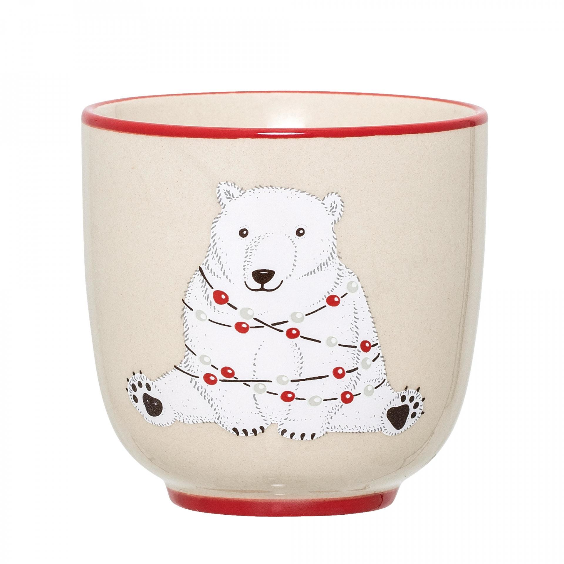 Bloomingville Keramický hrneček bez ouška Twinkle, červená barva, krémová barva, keramika