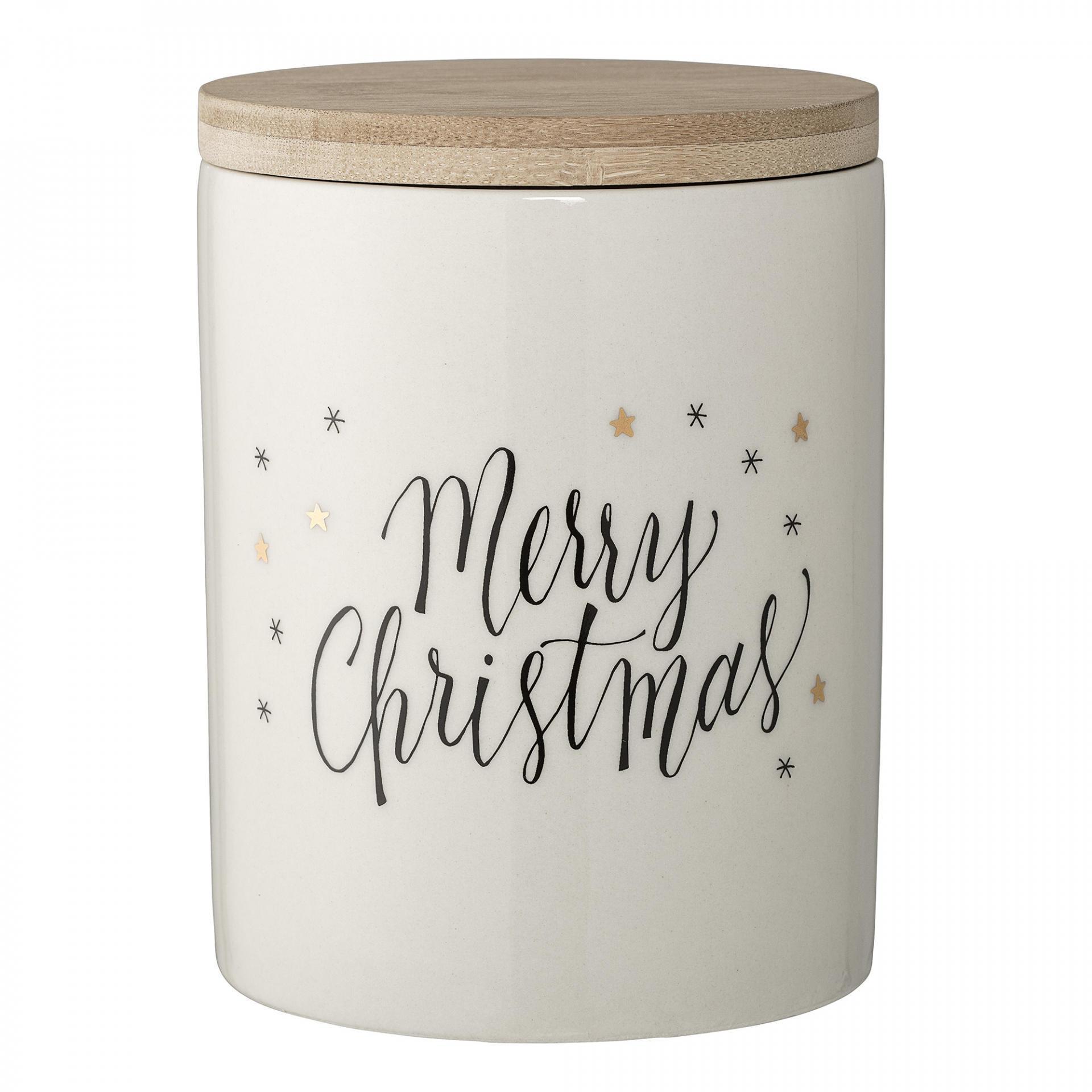 Bloomingville Keramická dóza Merry Christmas, krémová barva, keramika