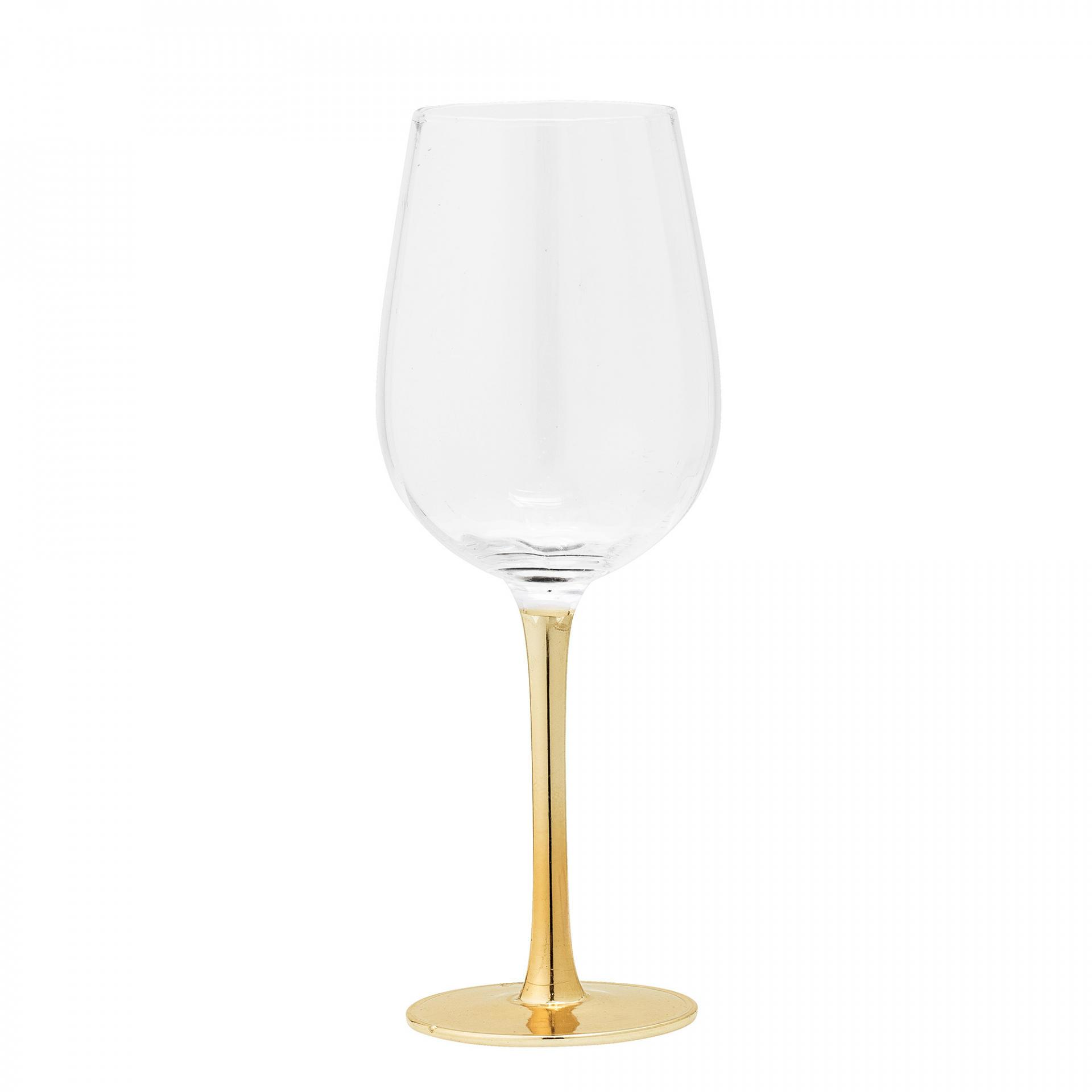 Bloomingville Sklenice na víno Clear, zlatá barva, čirá barva, sklo