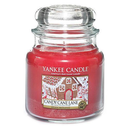 Yankee Candle Svíčka Yankee Candle 411gr - Candy Cane Lane, červená barva, sklo, vosk
