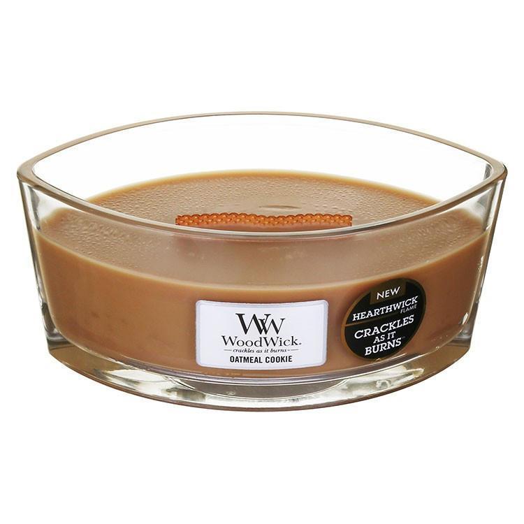 WoodWick Vonná svíčka WoodWick - Ovesné sušenky 454 g, hnědá barva, sklo, dřevo, vosk
