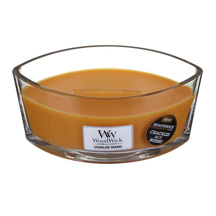 WoodWick Vonná svíčka WoodWick - Jiskřivý pomeranč 454 g, oranžová barva, sklo, dřevo, vosk