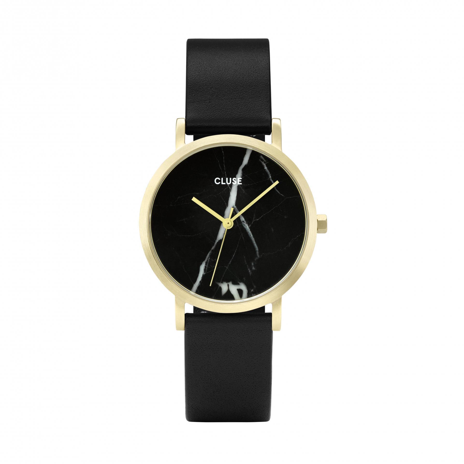 CLUSE Hodinky Cluse La Roche Petite Gold Black Marble/Black, černá barva, zlatá barva, kov, kůže, mramor