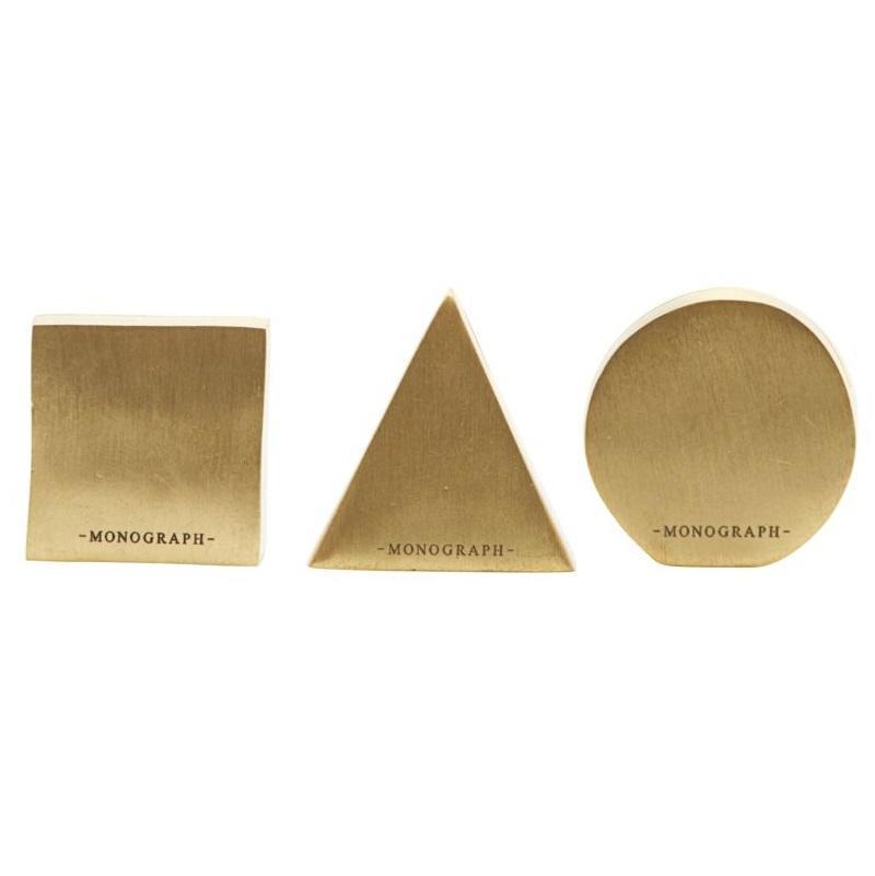 MONOGRAPH Stojánek na jmenovku Geometric Brass Čtverec, zlatá barva, kov