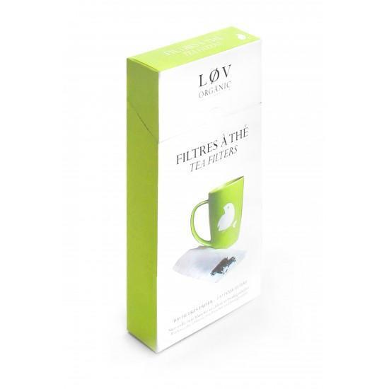 Løv Organic Čajové filtry Løv Organic - 100 ks, zelená barva, bílá barva, papír, textil