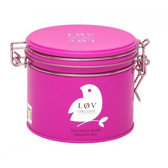 Løv Organic Rooibos čaj Rose - 100 g, růžová barva, kov