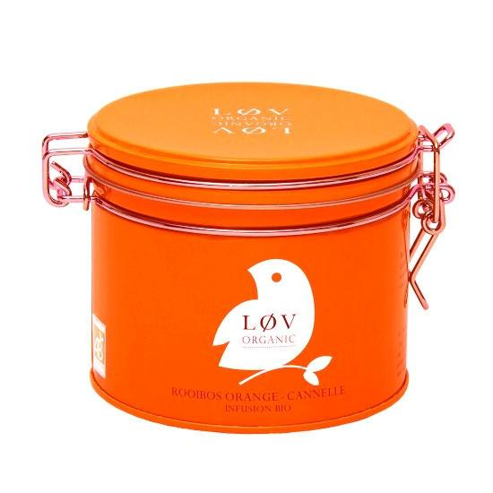 Løv Organic Rooibos čaj Orange Cinnamon - 100 g, oranžová barva, kov
