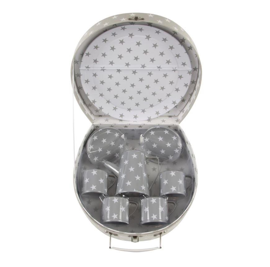 sass & belle Dětský piknikový set Nordic Star, šedá barva, kov, papír