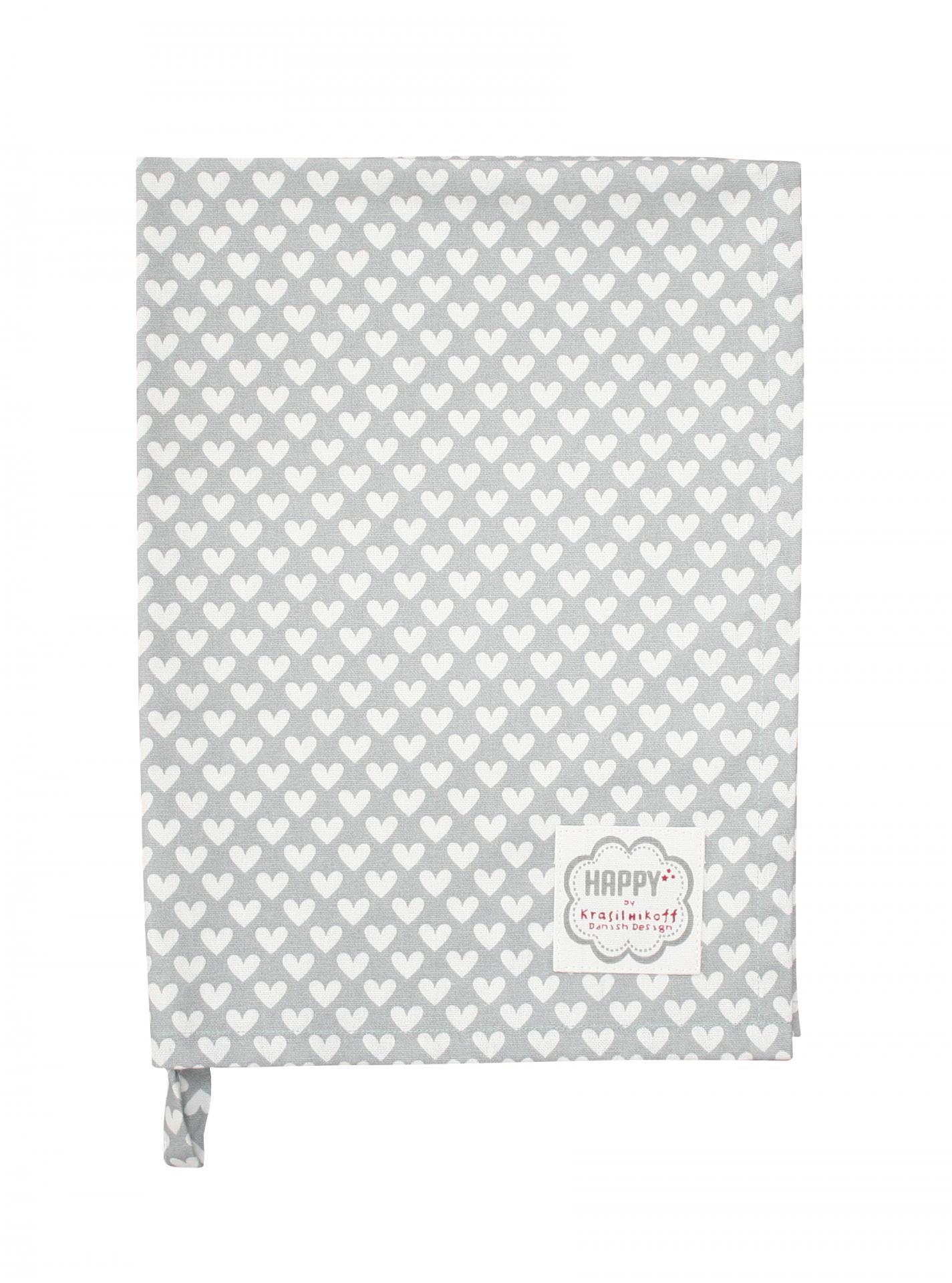 Krasilnikoff Utěrka Grey White Heart, šedá barva, bílá barva, textil