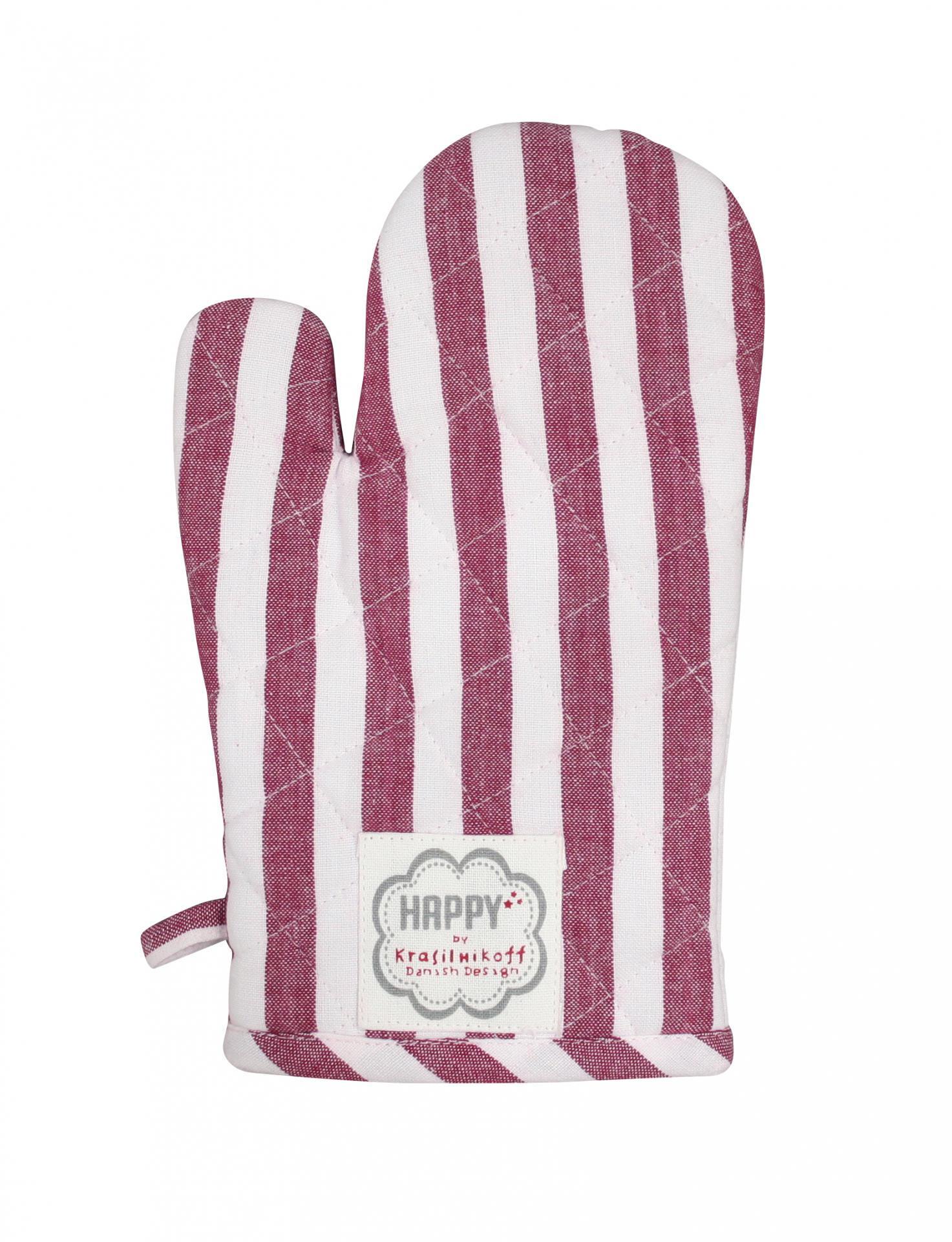Krasilnikoff Chňapka Plum Stripes, růžová barva, fialová barva, textil