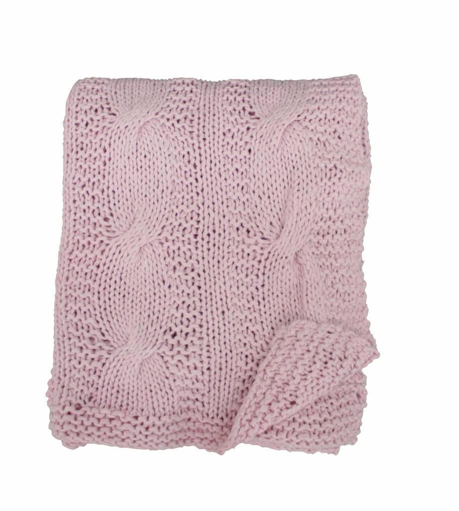 Krasilnikoff Pletená deka Pink Candy 130x180, růžová barva, textil