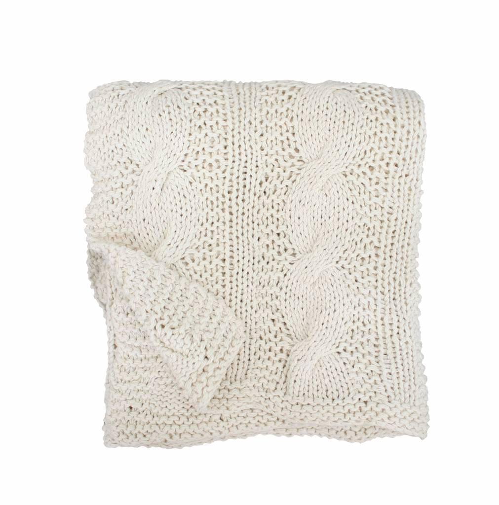 Krasilnikoff Pletená deka Vanilla 130x180, krémová barva, textil