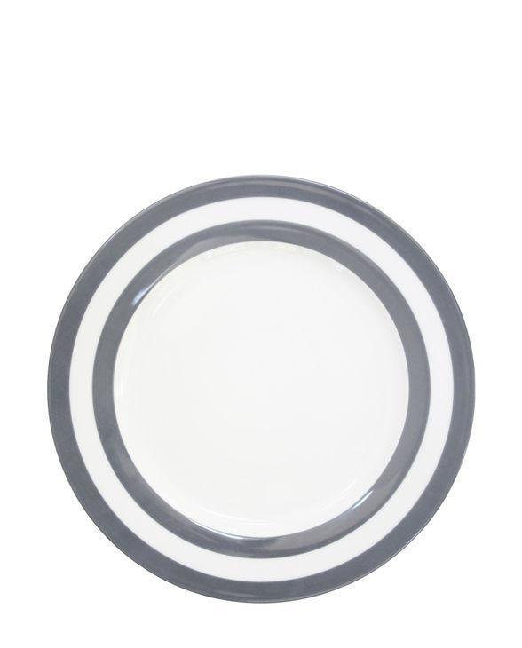 Krasilnikoff Obědový talíř Charcoal Stripes, šedá barva, porcelán