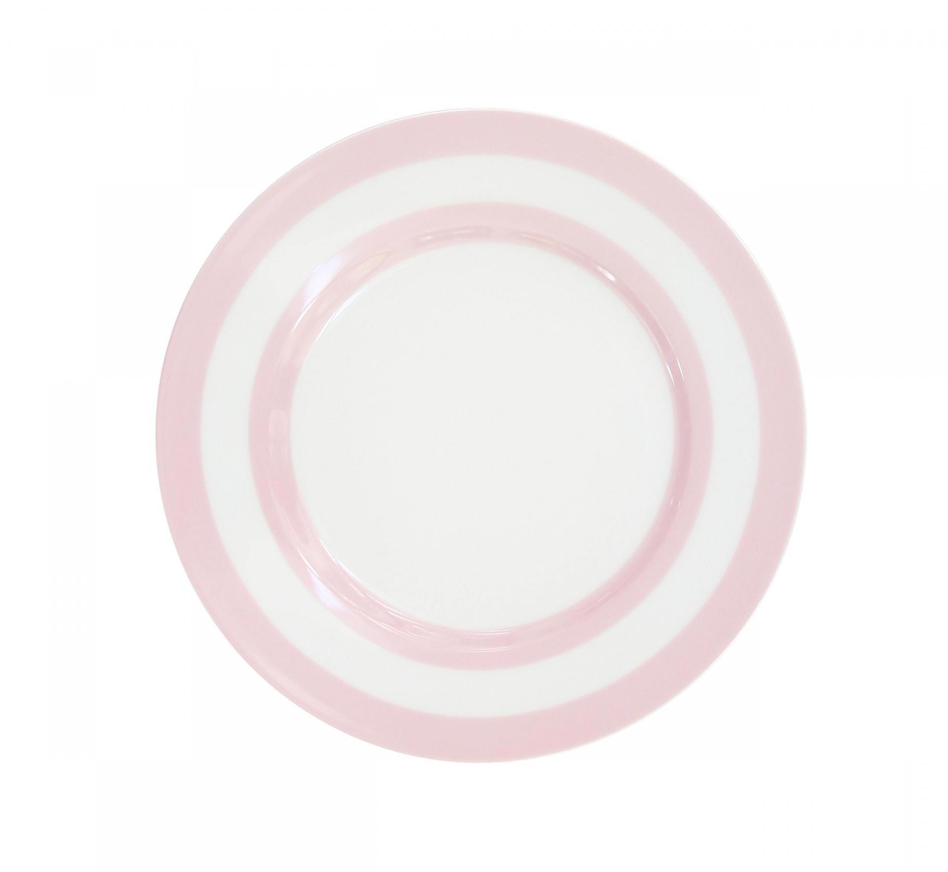 Krasilnikoff Dezertní talíř Pink Stripes, růžová barva, bílá barva, porcelán