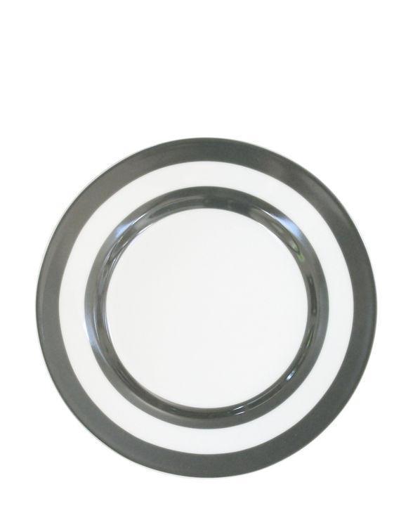 Krasilnikoff Dezertní talíř Charcoal Stripes, šedá barva, porcelán