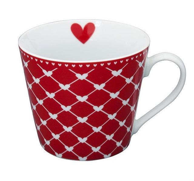 Krasilnikoff Hrneček Hearts Red Diagonal, červená barva, porcelán 250 ml