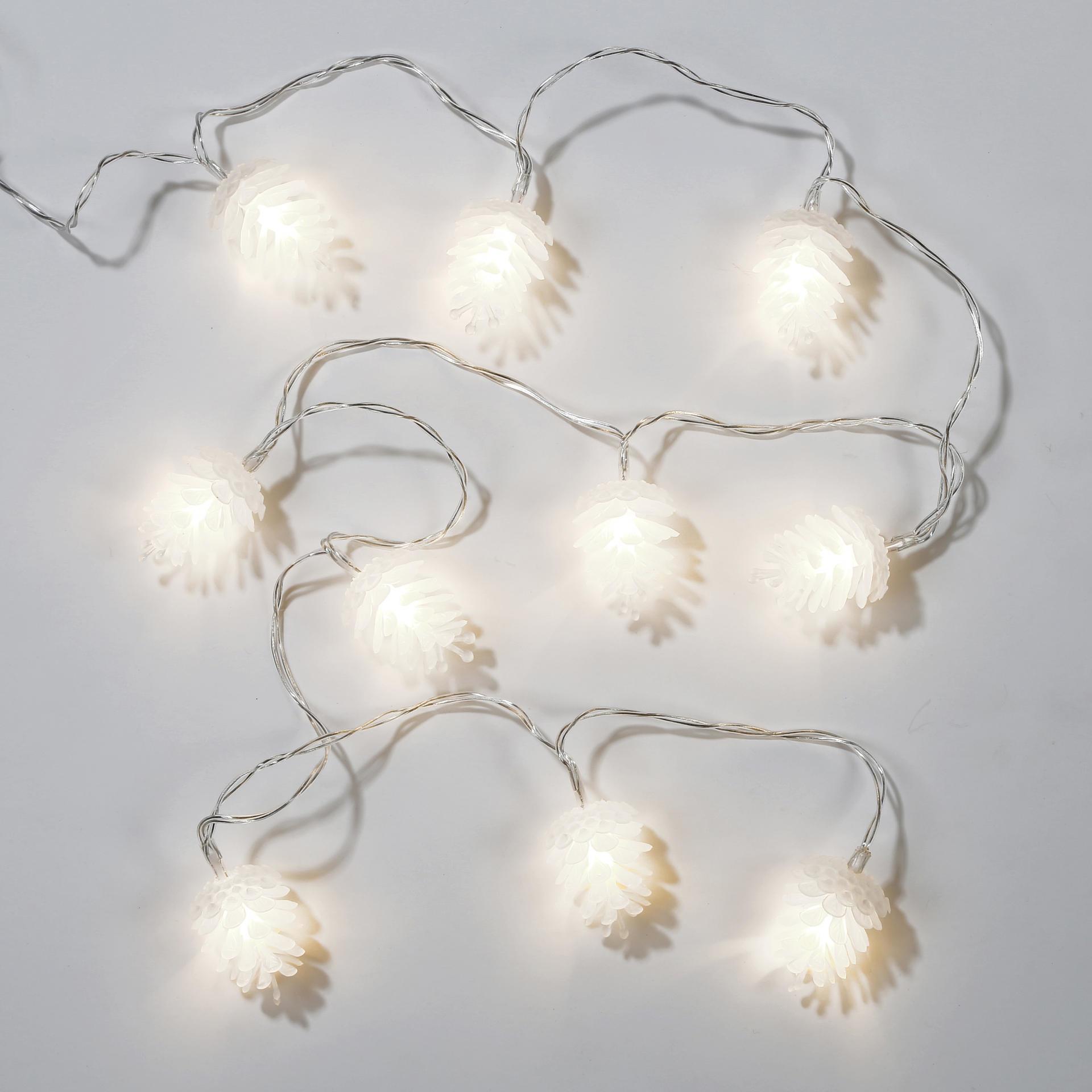 Talking Tables Světelný LED řetěz s šiškami Pinecone, bílá barva, plast
