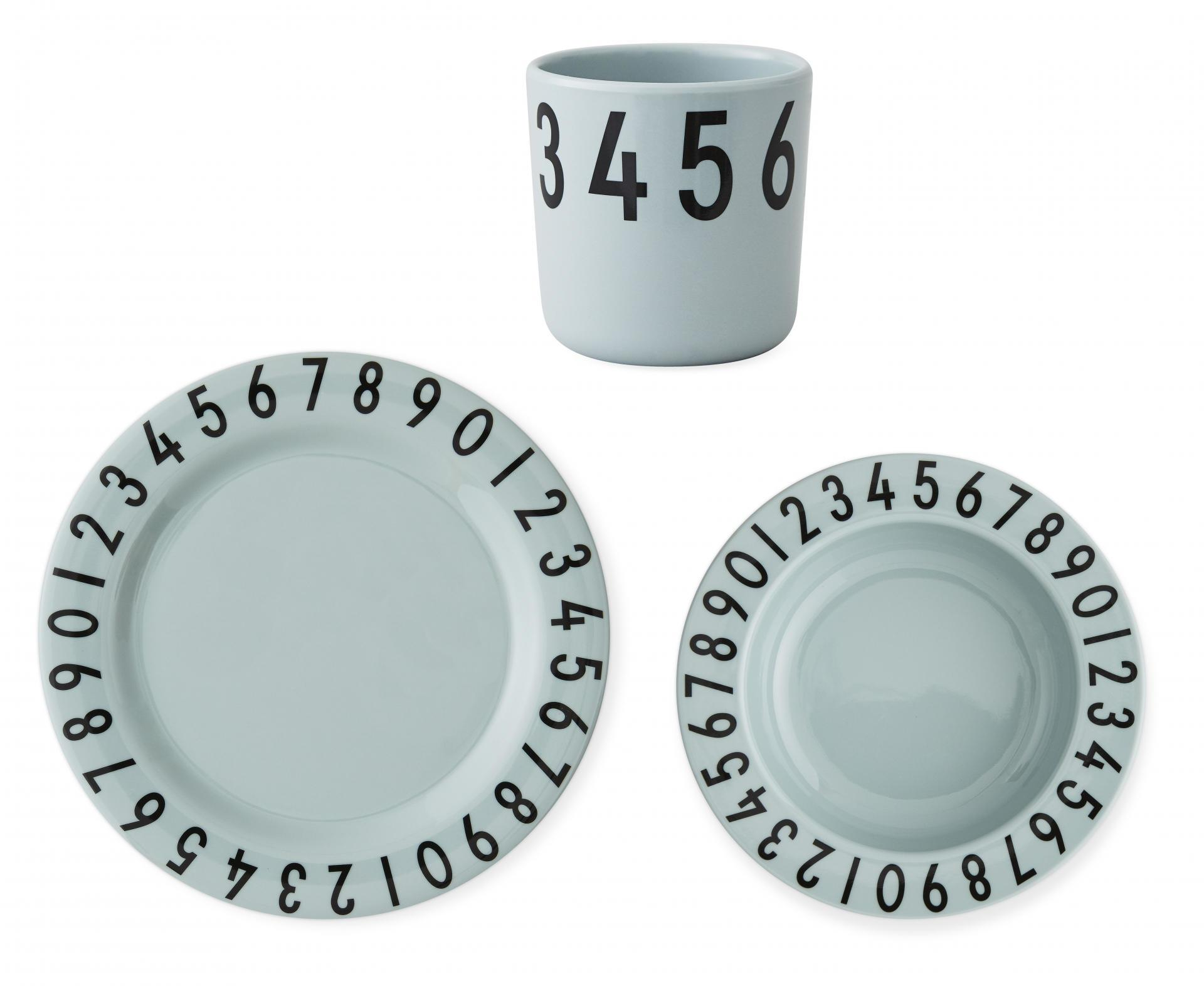 DESIGN LETTERS Set dětského nádobí The Numbers Green, zelená barva, melamin