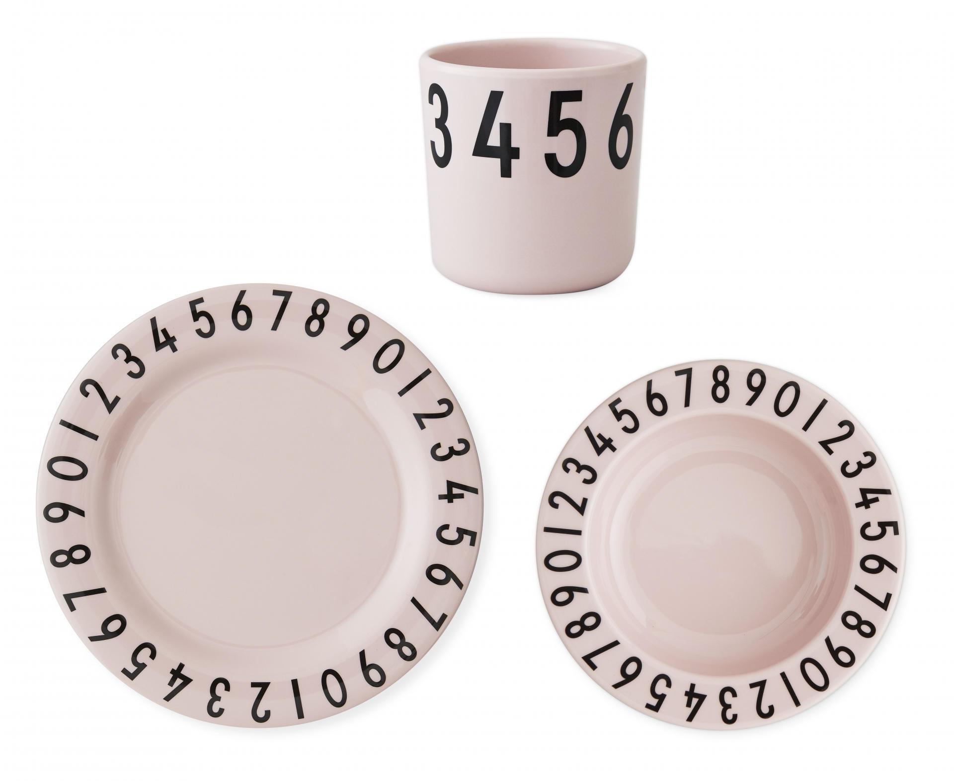 DESIGN LETTERS Set dětského nádobí The Numbers Pink, růžová barva, melamin