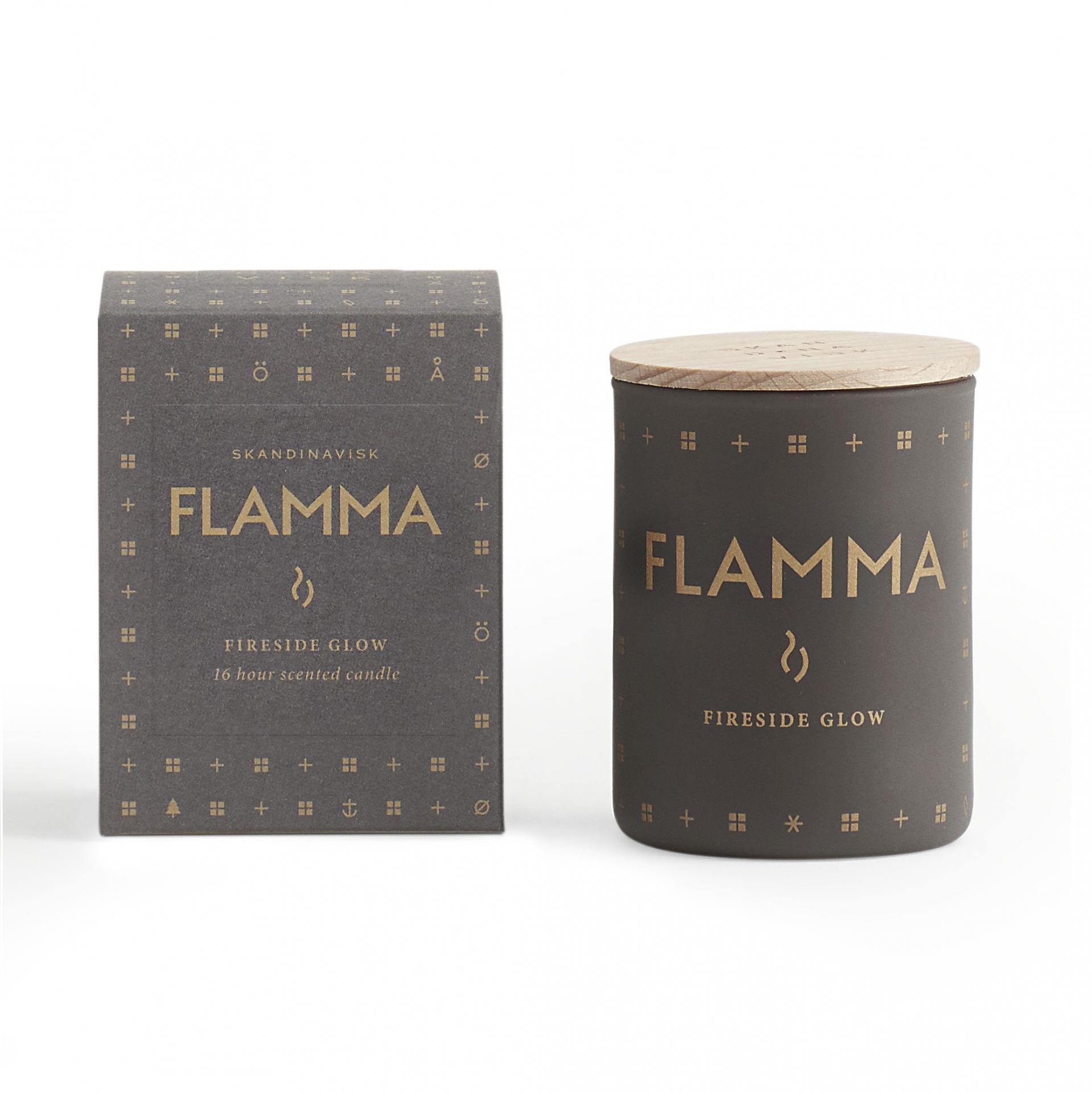SKANDINAVISK Vonná svíčka FLAMMA (plamen) mini 55 g, šedá barva, hnědá barva, sklo