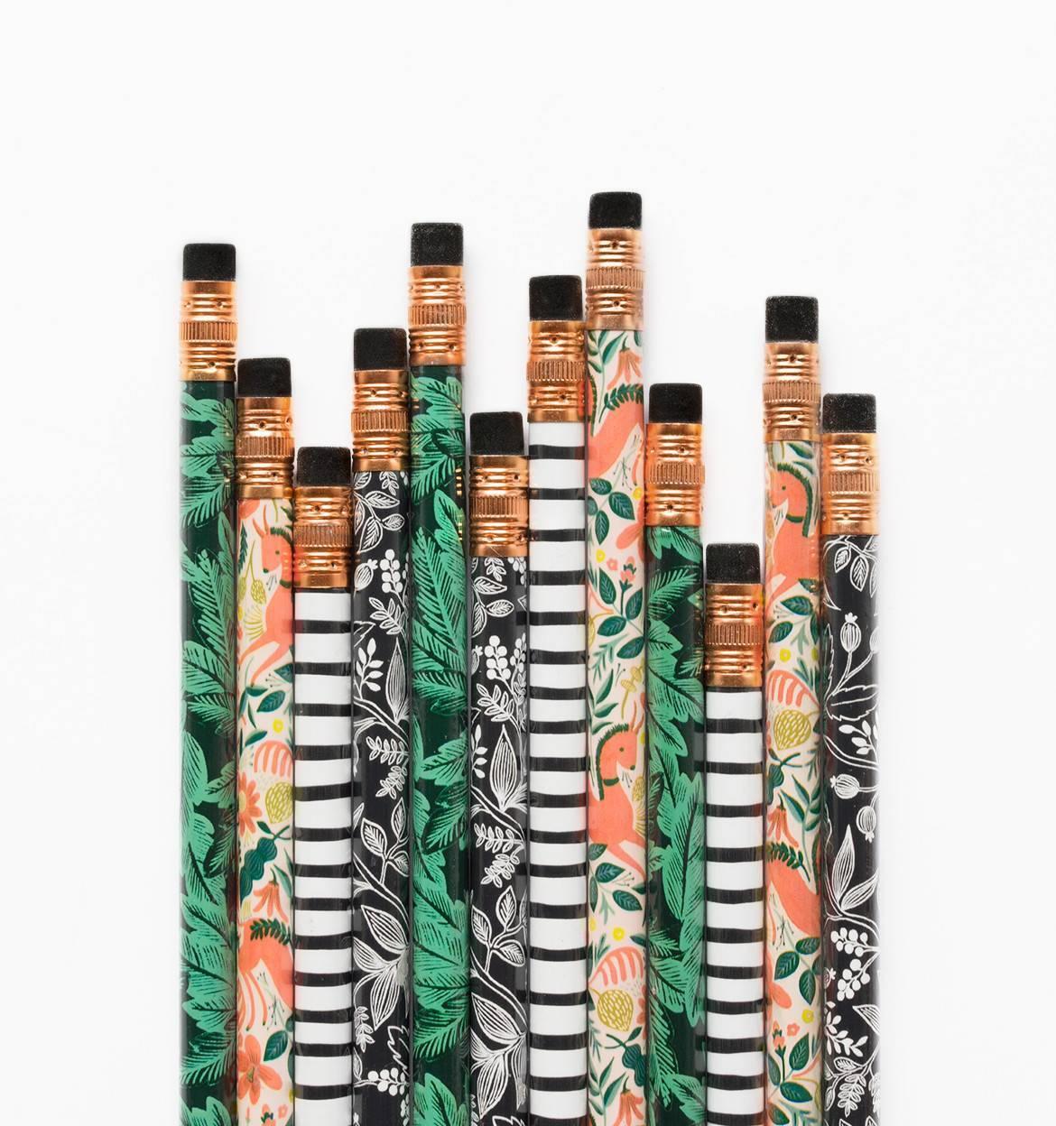 Rifle Paper Co. Tužky Folk - set 12 ks, zelená barva, černá barva, multi barva, dřevo