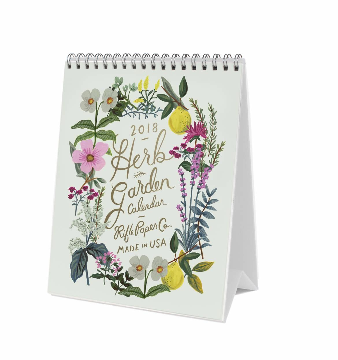 Rifle Paper Co. Stolní kalendář Herb Garden 2018, zelená barva, multi barva, papír