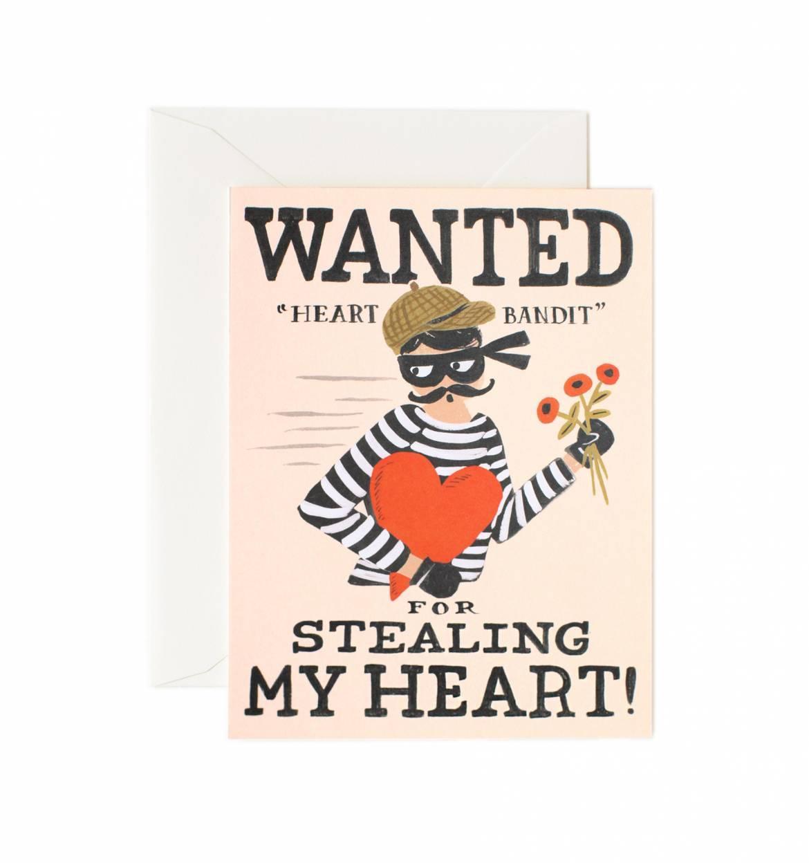 Rifle Paper Co. Přání s obálkou Heart Bandit, krémová barva, papír