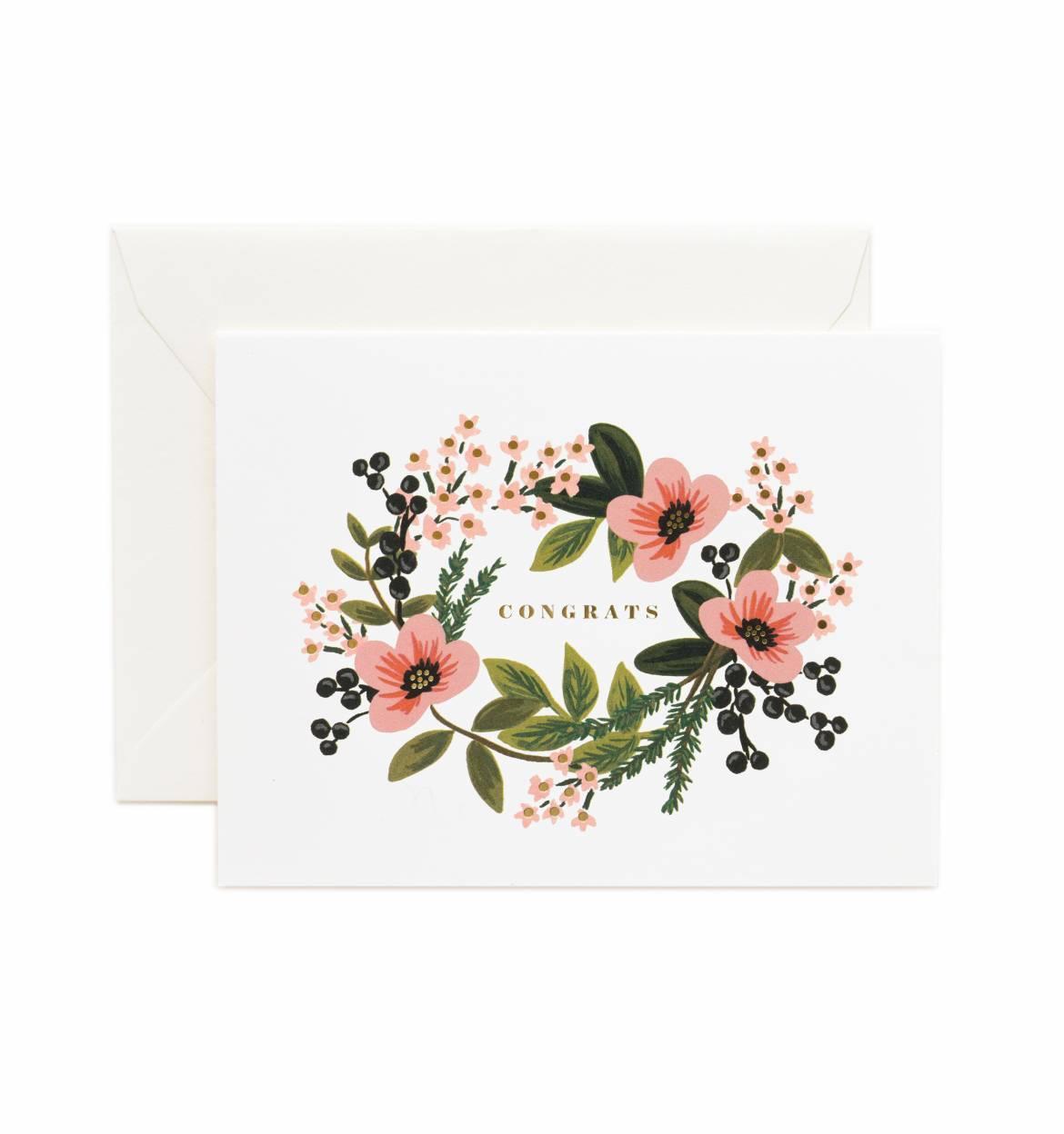 Rifle Paper Co. Přání s obálkou Congrats Bouquet, růžová barva, papír
