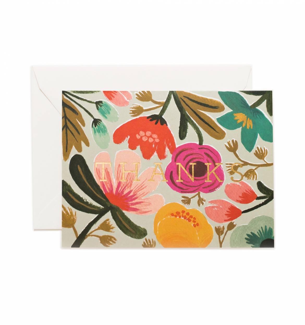 Rifle Paper Co. Přání s obálkou Thanks, růžová barva, multi barva, papír