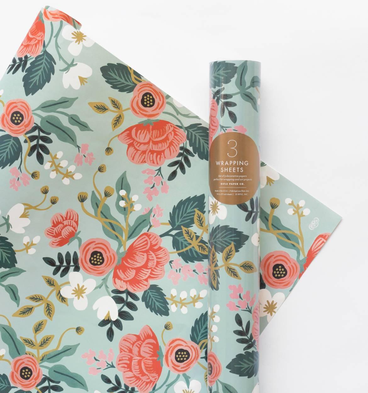 Rifle Paper Co. Balicí papír s květinami Birch - 3 listy, zelená barva, papír